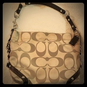 Coach beige and brown leather hobo bag,  near mint